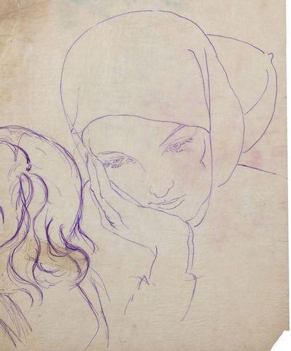 Alix AYMÉ (1894-1989) Jeune femme pensive Encre sur papier 33 x 27 cm - 13 x 10 5/8...