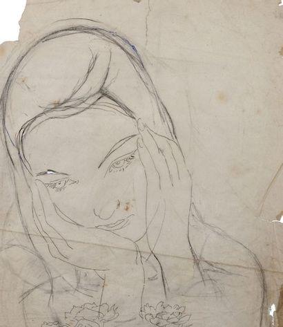 Alix AYMÉ (1894-1989) Jeune fille songeuse Encre et crayon sur papier calque 33 x...