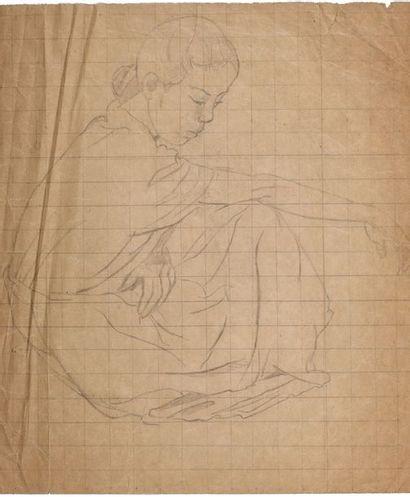 Alix AYMÉ (1894-1989) Jeune fille assise Crayon sur papier 32.5 x 29 cm - 12 3/4...