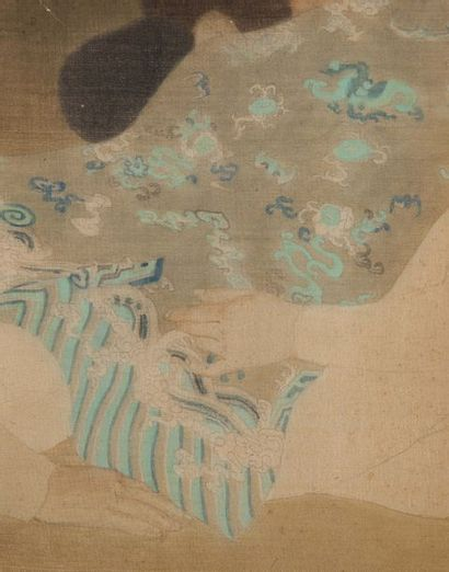 LUONG XUAN NHI (1913-2006) L'atelier de broderie Encre et couleurs sur soie, signée...