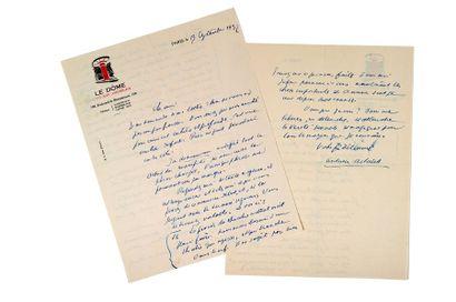 ARTAUD ANTONIN (1896-1948) Lettre autographe signée adressée à André ROLLAND DE RENEVILLE...