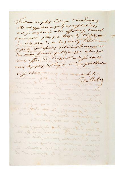 BALZAC Honoré de (1799-1850) Lettre autographe signée adressée à [Emmanuel DUPATY]...