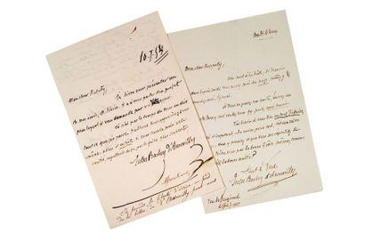 BARBEY D'AUREVILLY JULES (1808-1889) Deux lettres autographes signées adressées à...