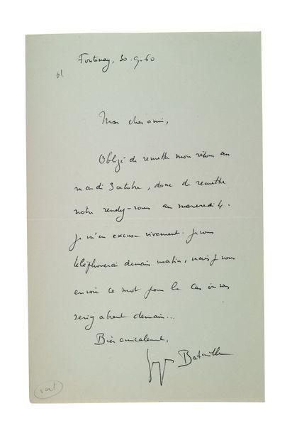 BATAILLE Georges (1897-1962) Lettre autographe signée adressée à Jean-Marie LO DUCA...