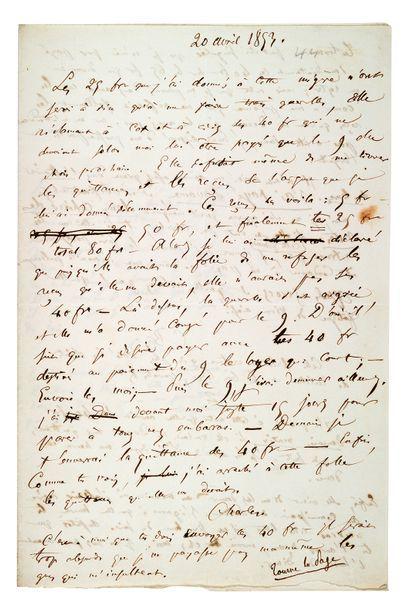 BAUDELAIRE Charles (1821-1867) Lettre autographe signée «Charles» et «C B» adressée...
