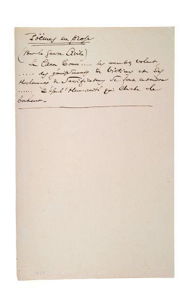 BAUDELAIRE Charles (1821-1867) Pour la guerre civile, manuscrit autographe avec la...