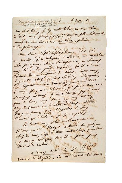 BAUDELAIRE Charles (1821-1867) Lettre autographe signée et monogrammée à l'éditeur...