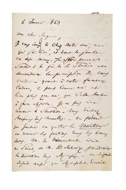 BAUDELAIRE Charles (1821-1867) Lettre autographe signée à Auguste POULET-MALASSIS...