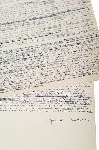 BRETON ANDRÉ (1896 - 1966) Triomphe de l'art gaulois, manuscrit autographe signé...
