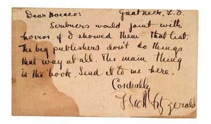 FITZGERALD FRANCIS SCOTT (1896-1940) Lettre autographe signée adressée à Horace WADE...