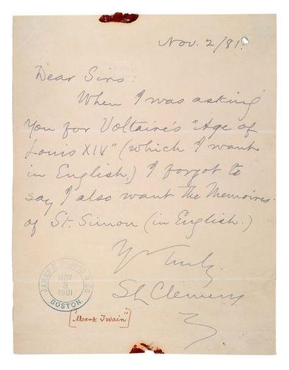 TWAIN MARK, CLEMENS SAMUEL DIT (1835-1910)