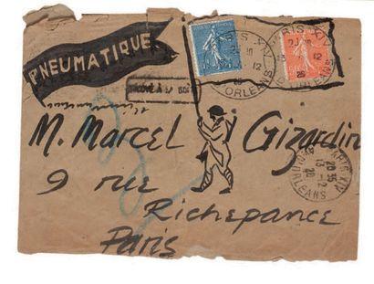 CALDER ALEXANDER (1898-1976). Lettre autographe avec grand DESSIN aquarellé, [Paris...