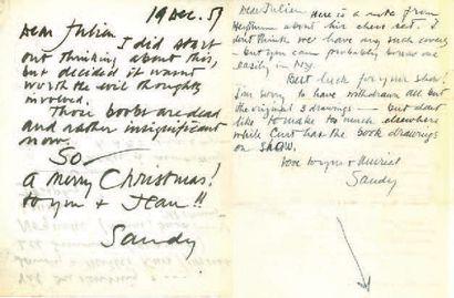 CALDER ALEXANDER (1898-1976). 2 L.A.S. «Sandy», [1944]-1959, à Julien LEVY; 1 page...