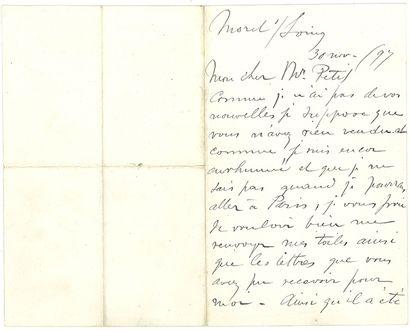 SISLEY ALFRED (1839-1899). L.A.S. «A. Sisley», Moret s/Loing 30 novembre 1897, à...