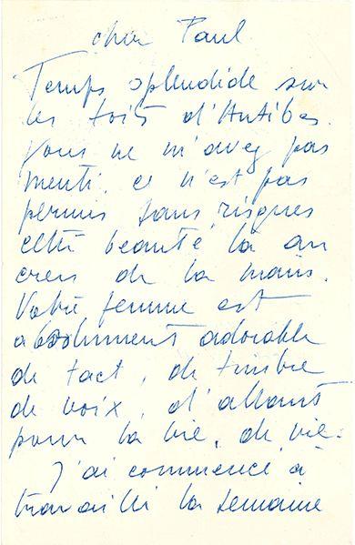 STAËL NICOLAS DE (1914-1955). L.A.S. «Nicolas», [Antibes 16 ou 17 octobre 1954?],...