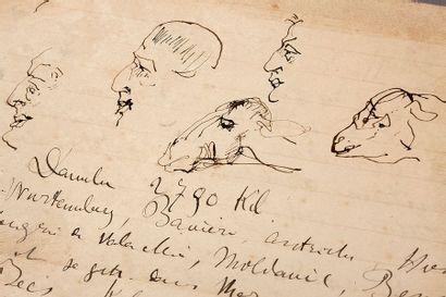 TOULOUSE-LAUTREC HENRI DE (1864-1901). MANUSCRIT autographe avec DESSINS à la plume,...