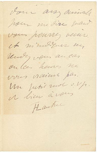 TOULOUSE-LAUTREC HENRI DE (1864-1901). L.A.S. «HTLautrec», [Paris] Lundi [27 novembre...