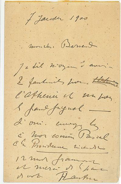 TOULOUSE-LAUTREC HENRI DE (1864-1901). L.A.S. «HTLautrec», [Paris] 7 janvier 1900,...