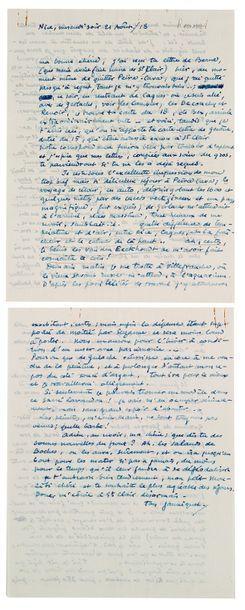 VAN RYSSELBERGHE THÉO (1862-1926). L.A.S. «Ton Janniquet», Nice 21 août 1918, à SA...