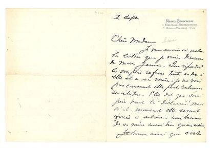 CASSATT MARY (1844-1926). L.A.S. «Mary Cassatt», Mesnil-Beaufresne 2 septembre [vers...