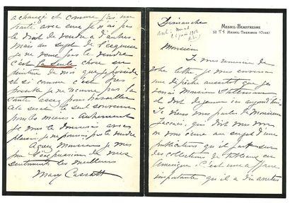 CASSATT MARY (1844-1926). L.A.S. «Mary Cassatt», Mesnil-Beaufresne par Mesnil- Theribus...