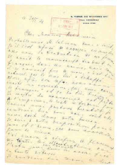 CHAGALL MARC (1887-1985). L.A.S. «Marc Chagall», Paris 30 janvier 1931, à l'éditeur...