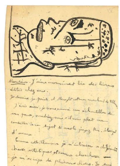 CHAISSAC GASTON (1910-1964). L.A.S. «Gaston Chaissac» avec DESSIN, «La Raffinière...
