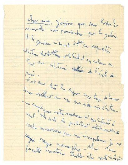 CHAISSAC GASTON (1910-1964). L.A.S. «Gaston Chaissac» avec DESSIN, Vix (Vendée) [vers...