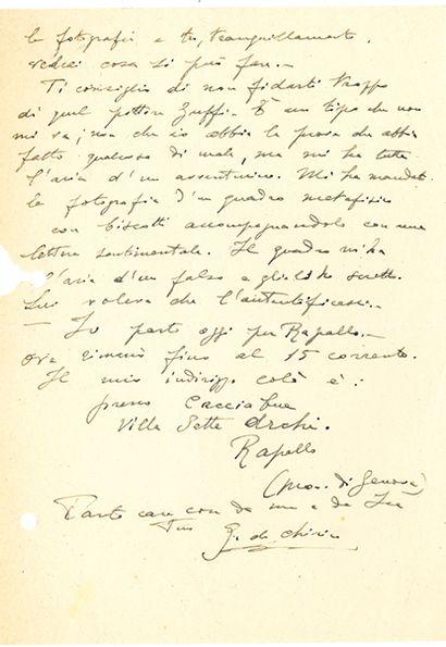 CHIRICO GIORGIO DE (1888-1978). L.A.S. «G. de Chirico», Rome 4 août 1948, à Vittorio...