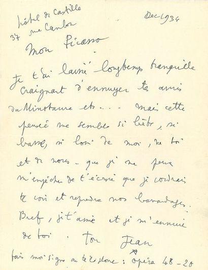 COCTEAU JEAN (1889-1963). L.A.S. «Ton Jean * », «Hôtel de Castille 37 rue Cambon»...