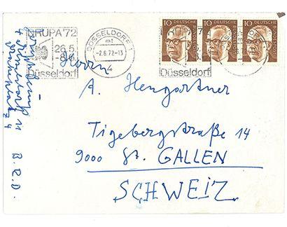 BEUYS JOSEPH (1921-1986). L.A.S. «Joseph Beuys», Düsseldorf 1er juin 1972, à Alois...