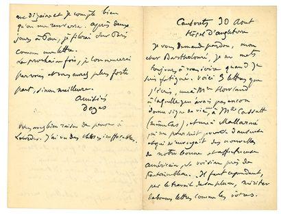 DEGAS EDGAR (1834-1917). L.A.S. «Degas», Cauterets «Hôtel d'Angleterre» 30 août [1888],...