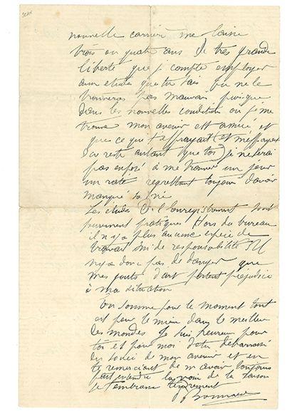 BONNARD Pierre (1867-1947). L.A.S. «PBonnard», [Paris] 8 rue de Parme 17 février...