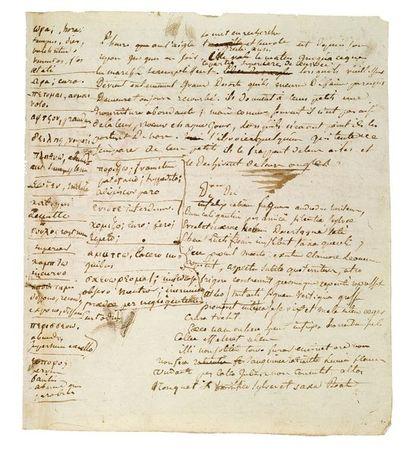 DELACROIX Eugène (1798-1863). MANUSCRIT autographe signé «Delacroix», [vers 1815];...