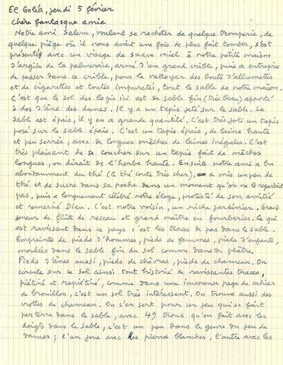 DUBUFFET JEAN (1901-1985). L.A.S. «Jean Dubuffet», El Golea 5 février [1948], à Florence...