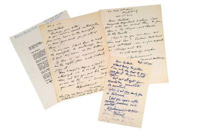 DUCHAMP MARCEL (1887-1968). 3 L.A.S. «Marcel Duchamp» puis «Marcel», New York 1949...