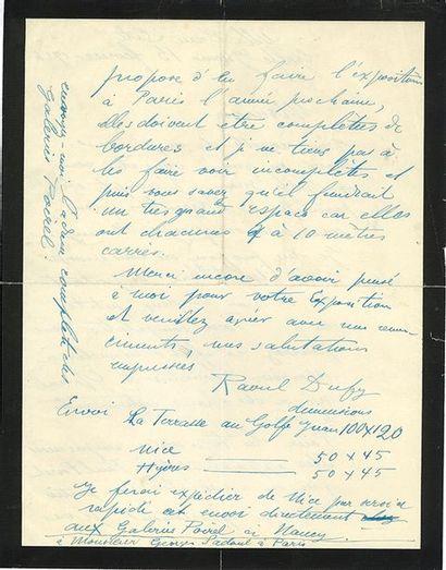 DUFY RAOUL (1877-1953). L.A.S. «Raoul Dufy», Golfe Juan 15 février 1926, [à Georges...