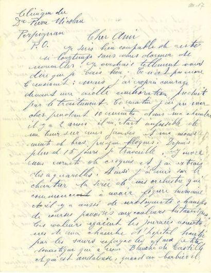 DUFY RAOUL (1877-1953). L.A.S. «Raoul Dufy», Perpignan [1937], à son ami Paul-A....