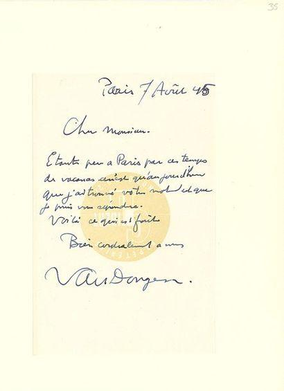 DUFY RAOUL (1877-1953). L.A.S. «Raoul Dufy», Perpignan 20 juillet 1945, à Pierre...