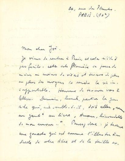 ERNST MAX (1891-1976). L.A.S. «Max Ernst», Paris «26, rue des Plantes», [automne...