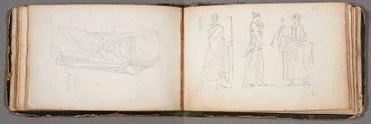 FRAGONARD THÉOPHILE (1806-1876). CARNET DE DESSINS; 55 pages oblong in-12 (environ...