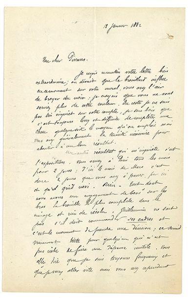 GAUGUIN PAUL (1848-1903). L.A.S. «P. Gauguin», Paris 18 janvier 1882, à Camille PISSARRO;...