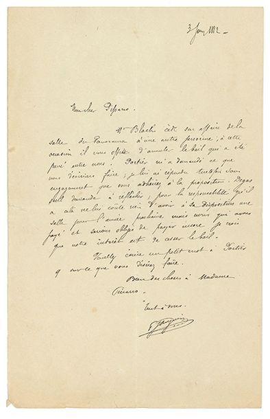 GAUGUIN PAUL (1848-1903). L.A.S. «P. Gauguin» 3 juin 1882, à Camille PISSARRO; 1...
