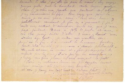 GAUGUIN PAUL (1848-1903). L.A.S. «P. Gauguin», [Rouen fin juillet 1884], à Camille...