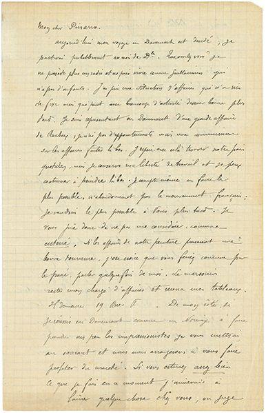 GAUGUIN PAUL (1848-1903). L.A.S. «P. Gauguin», [Rouen octobre 1884], à Camille PISSARRO;...
