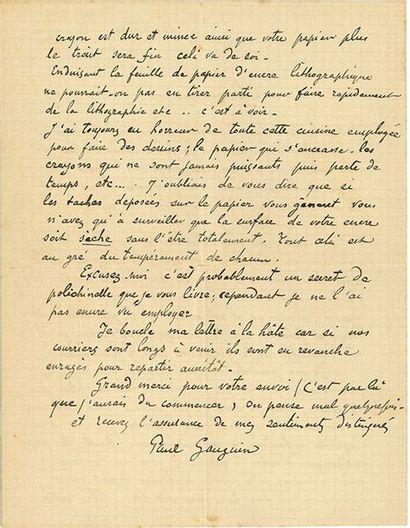 GAUGUIN PAUL (1848-1903). L.A.S. «Paul Gauguin», Dominique Marquise mars 1902, au...