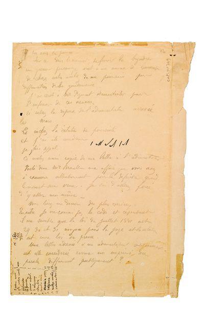 GAUGUIN PAUL (1848-1903). L.A. (minute), [2? avril 1903], à Léonce BRAULT; 2 pages...