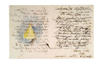 LAURENCIN MARIE (1883-1956). L.A.S. «Marie Laurencin» avec AQUARELLE originale, 14...