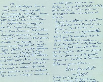 LÉGER FERNAND (1881-1955). L.A.S. «FLeger» avec CrOqUIS, 2 août 1955; 3 pages in-8...
