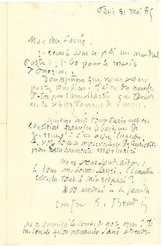 BOUDIN EUGÈNE (1824-1898) PEINTRE. L.A.S. «E. Boudin», Paris 31 mai 1885, à SON FRÈRE...